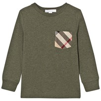 Burberry Long Sleeve Check Pocket Tee Khaki Green Khaki Green