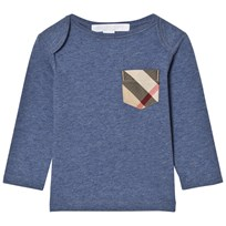 Burberry Long Sleeve Check Pocket Tee Slate Blue SLATE BLUE MELANGE