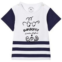 Burberry Bearded Gent Print Tee Blue Bright Navy