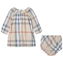 Burberry Ruffle Detail Check Cotton Dress And Bloomers Pale Stone
