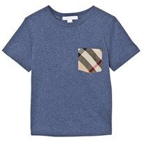 Burberry Slate Blue Check Pocket Tee SLATE BLUE MELANGE