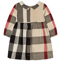 Burberry Long Sleeve Check Pintuck Dress Beige New Classic Check