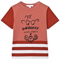 Burberry Bearded Gent Print Tee Red PALE CINNAMON