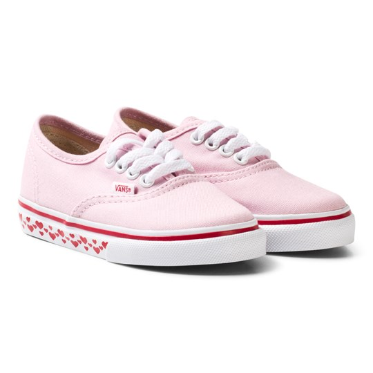 Vans Pink Heart Tape Sole Authentic Infants Trainers (Hearts Tape) pink lady/red