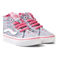 Vans Kids Chambray Hearts Sk8-Hi Zip Shoes blue/true white