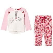 Joules Pink Cat Face Tee and Floral Leggings Set ROSE PINK CAT