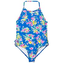 Ralph Lauren Blue Floral Halter Swimsuit 001