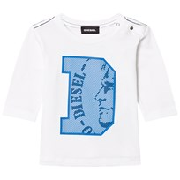 Diesel Long Sleeve D Logo Tee White/Blue K100
