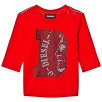 Diesel Long Sleeve D Logo Tee Red K405