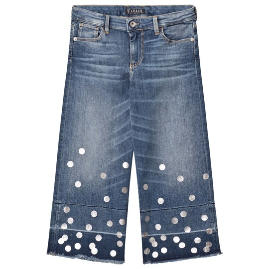 Guess Mid Wash Denim Culottes Silver Spots PRWH