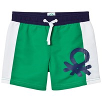 United Colors of Benetton Colour Block Swim Shorts With Logo Green White Green White