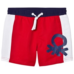 United Colors of Benetton Colour Block Swim Shorts With Logo Red White