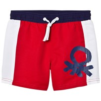 United Colors of Benetton Color Block Swim Shorts with Logo Red/White Red White