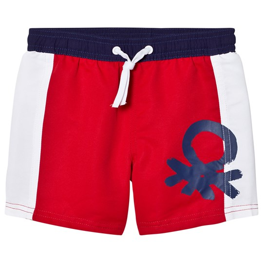 United Colors of Benetton Colour Block Swim Shorts With Logo Red White Red White