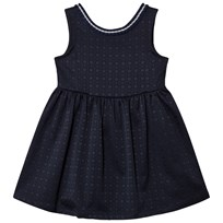 United Colors of Benetton Smart Textured A Line Sleeveless Dress With Bow Back Detail Navy Laivastonsininen