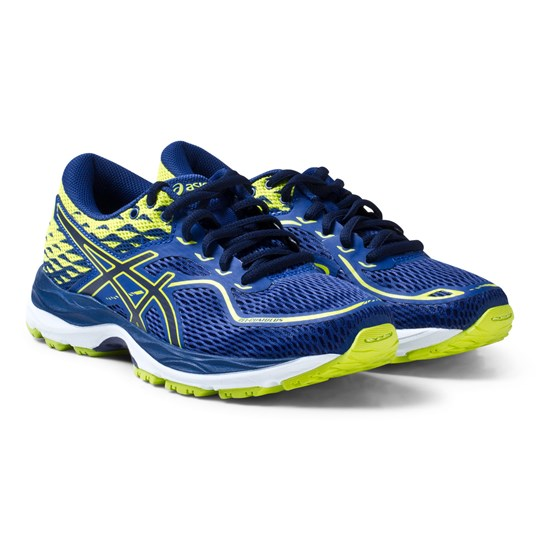 Asics Blue and Green Junior Gel-Cumulus 19 Running Trainers LIMOGES/PEACOAT/ENERGY GREEN