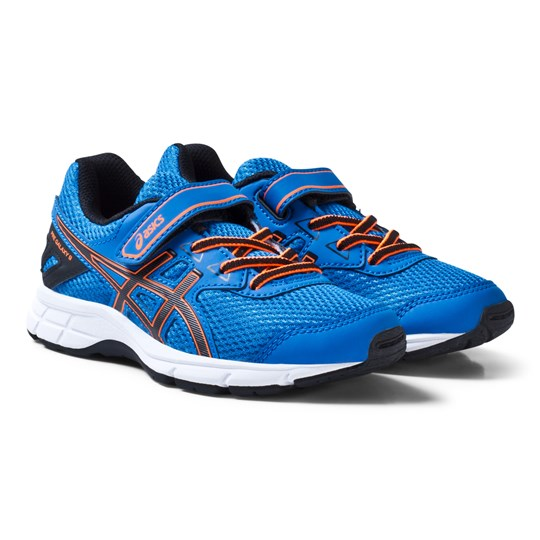 Asics Blue and Orange Kids Velcro Pre-Galaxy 9 Running Trainers DIRECTOIRE BLUE/BLACK/HOT ORANGE