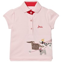 Joules Pink Pique Polo with Walking Dogs Applique ROSE PINK WALKING DOGS