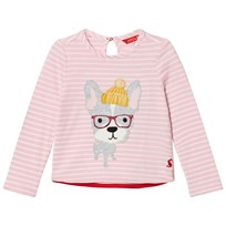 Joules Pink Stripe Hipster Dog Applique Tee ROSE PINK HIPSTER DOG