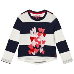 Tom Joule Navy Stripe Heart Print and Applique Long Sleeve Tee