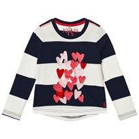 Joules Navy Stripe Heart Print and Applique Long Sleeve Tee FRENCH NAVY STRIPE