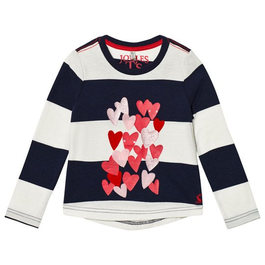 Tom Joule Navy Stripe Heart Print and Applique Long Sleeve Tee FRENCH NAVY STRIPE