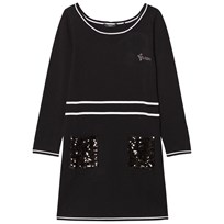 Guess Black Knit Dress with Sequin Pocket A996