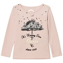 Guess Pale Pink Umbrella Print Tee with Glitter Tulle Back G604