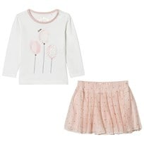Guess Cream Glitter Balloon Print Tee and Tulle Skirt Set A002