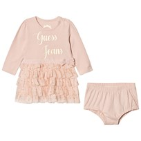 Guess Pink Branded Tulle Dress and Knickers Set G604