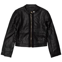 Guess Black Pleather Biker Jacket A996