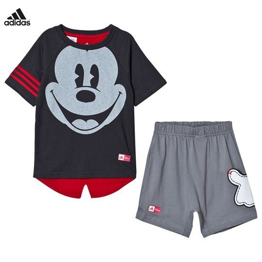 adidas Performance Grey Disney Micky Mouse Tee Shorts Set Top:UTILITY BLACK F16/SCARLET Bottom:GREY THREE F1