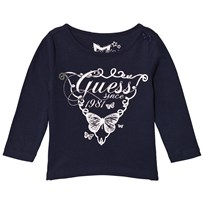 Guess Navy Metallic Heart Print Tee C709