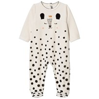 Catimini Cream Deer Print Velour Babygrow 12