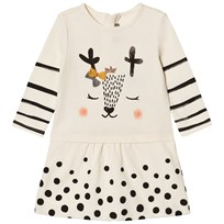 Catimini Cream Spot and Stripe Deer Print Jersey Dress 12