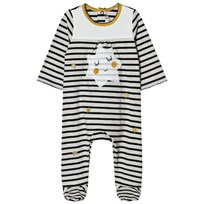 Catimini Cream and Navy Stripe and Star Print Babygrow 11