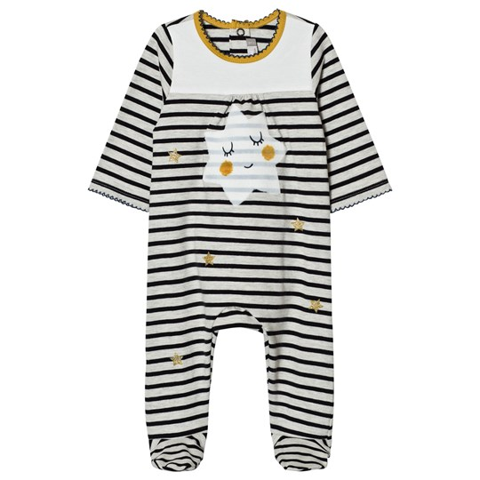 Catimini Cream and Navy Stripe with Star Print Footed Baby Body 11