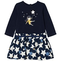 Catimini Navy Girl and Star Jersey and Woven Skirt Dress 48