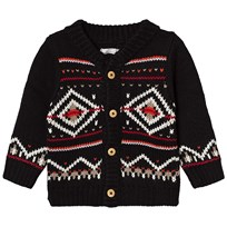 Catimini Black Fairisle Knit Hooded Cardigan 02