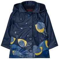 Catimini Navy Leaf and Glitter Print Raincoat 48