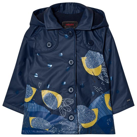 Catimini Navy Bird and Glitter Print RaincoatPrint Raincoat 48