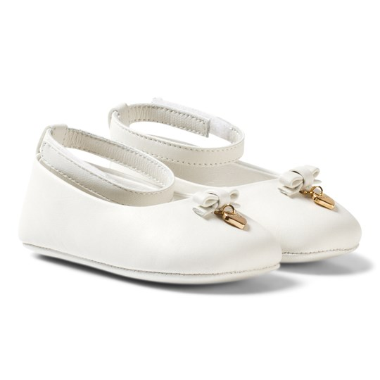 Dolce & Gabbana White Leather Crib Shoes with Charm 80001