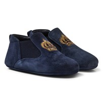 Dolce & Gabbana Navy Velvet Crown Crib Shoes 80652