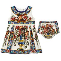 Dolce & Gabbana White Multi Majolica Print Dress Bloomers Set HAD18