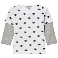 Kenzo White Eye Print Mock Layer Tee 01