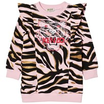 Kenzo Pink Tiger Print Frill Shoulder Sweat Dress 32