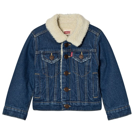 Levis Kids Blue Denim Trucker Jacket With Teddy Lining 46