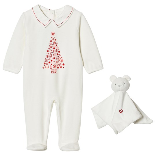 Absorba Cream Christmas Tree Print Velour Footed Baby Body and Comforter 11