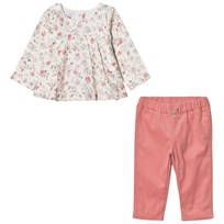 Absorba Floral Blouse and Pink Micro Cord Trousers 32