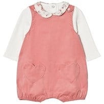 Absorba Cream Tee with Floral Collar and Pink Micro Cord Dungarees with Heart Pockets 32